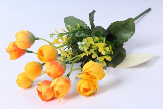 искусственное растение - ранункулюс с бересклетом оранжевый 30cm