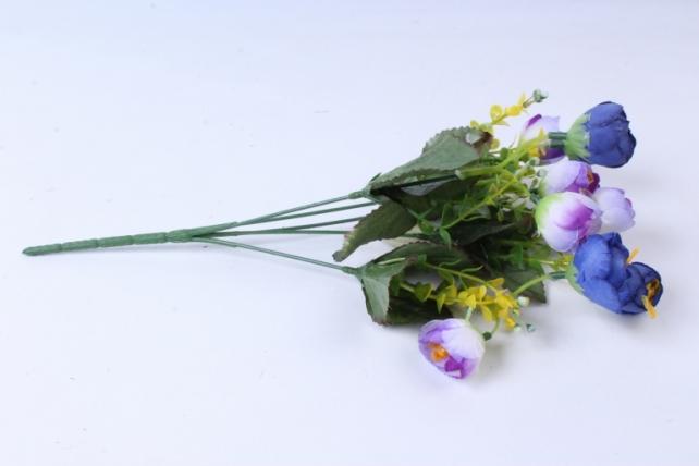 Искусственное растение - Ранункулюс с бересклетом синий 30cm