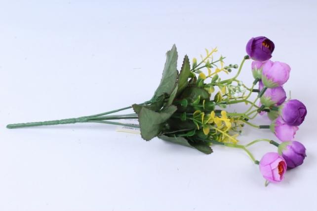 Искусственное растение - Ранункулюс с бересклетом сиреневый 30cm