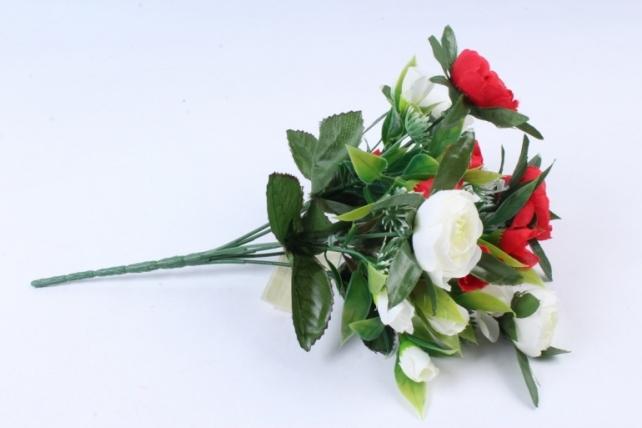 Искусственное растение -  Ранункулюс с клевером красно-белый Б9934