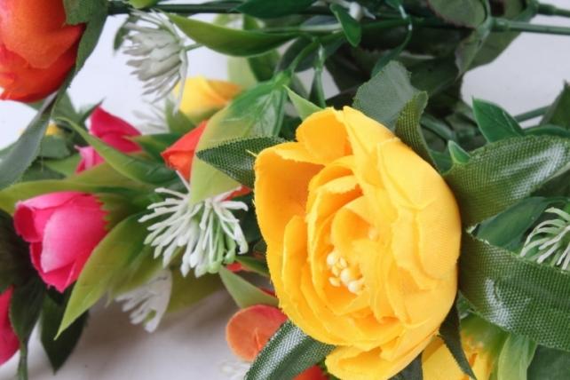 Искусственное растение -  Ранункулюс с клевером оранжево-жёлтый  Б9934