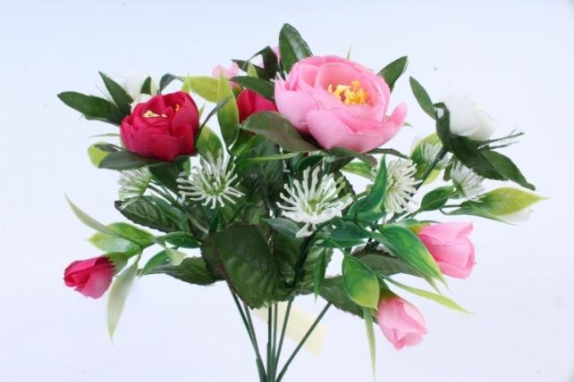 Искусственное растение -  Ранункулюс с клевером розово-белый  Б9934