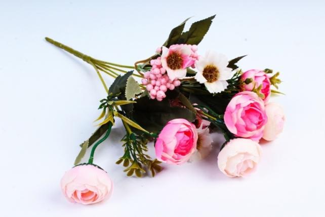 Искусственное растение -  ранункулюс с перламутровыми шариками бело-розовый (Т)