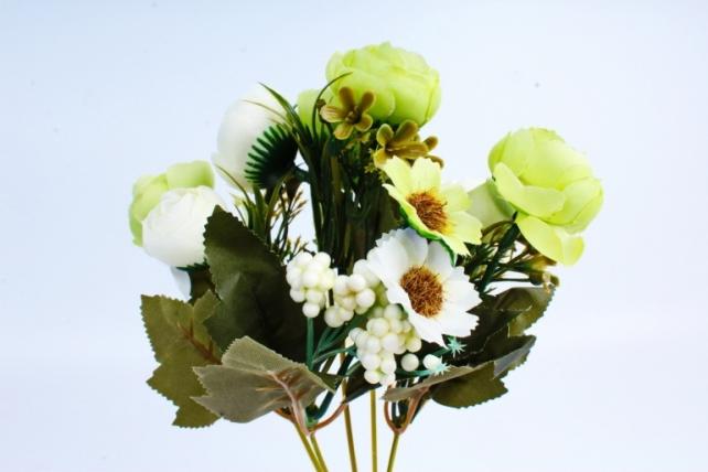 Искусственное растение -  ранункулюс с перламутровыми шариками бело-салатовый  (Т)
