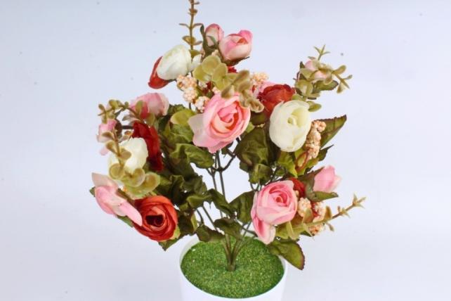 Искусственное растение -  Ранункулюс с самшитом розово-терракотовый