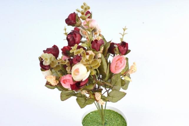 Искусственное растение -  Ранункулюс с самшитом розовый/бордо