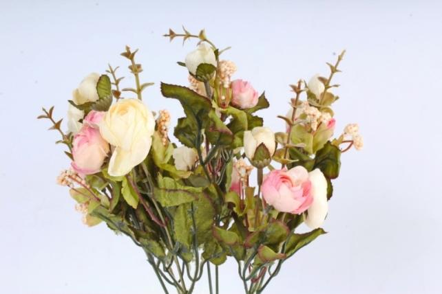 Искусственное растение -  Ранункулюс с самшитом шампань/розовый