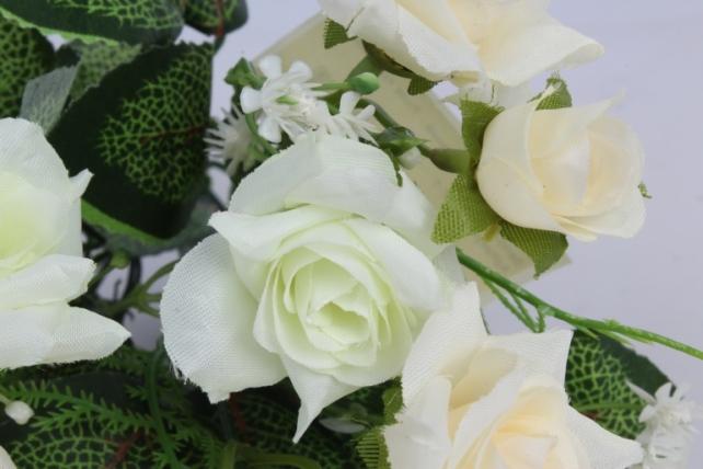 искусственное растение - роза кудрявая бело-салатовая h=35cm