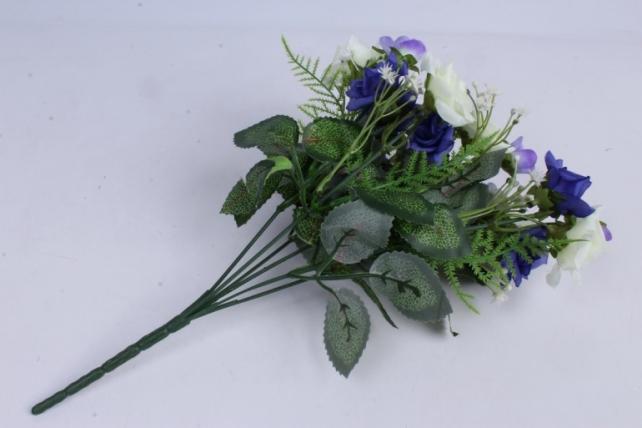 искусственное растение - роза кудрявая бело-синяя h=35cm