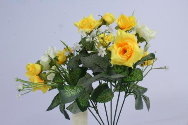 искусственное растение - роза кудрявая жёлто-салатовая h=35cm