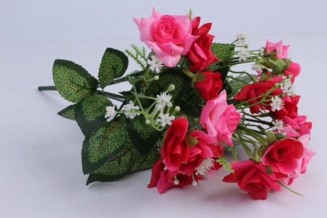 Искусственное растение - Роза кудрявая красно-розовая h=35cm