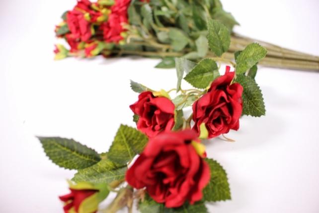 искусственное растение - роза кустовая 35см красная (12 щт в уп) sun415