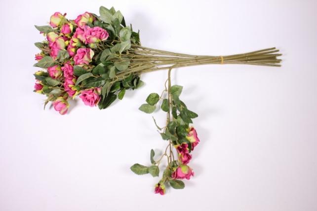 искусственное растение - роза кустовая 35см малиновая (12 щт в уп) sun415
