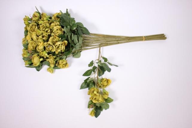 искусственное растение - роза кустовая 35см оливковая (12 щт в уп) sun415