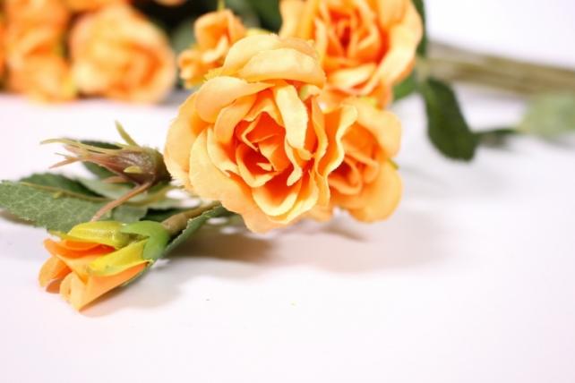 искусственное растение - роза кустовая 35см оранжевая (12 щт в уп) sun415