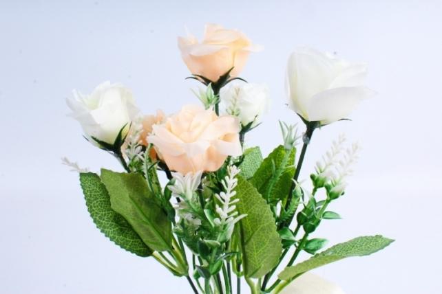 """Искусственное растение -  Роза """"Лапочка"""" бело-персиковая Б10378"""