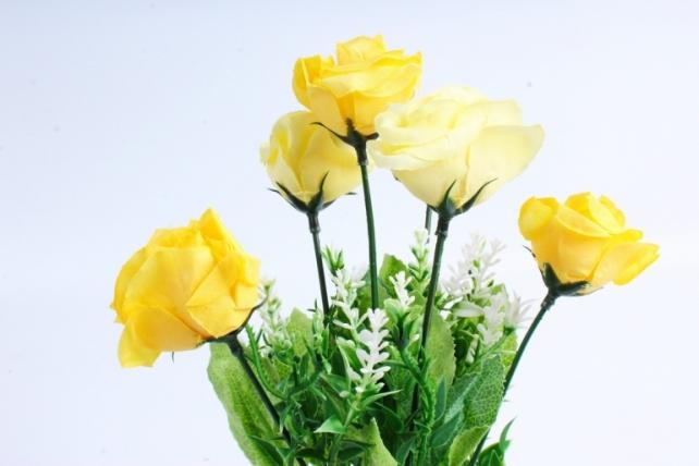 """Искусственное растение -  Роза """"Лапочка"""" жёлтая  Б10378"""