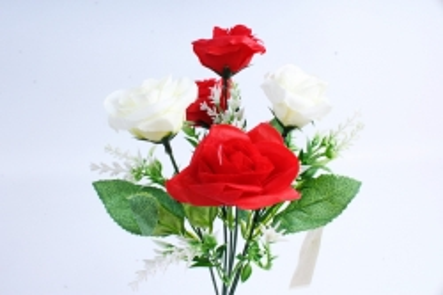 """Искусственное растение -  Роза """"Лапочка"""" красно-белая Б10378"""