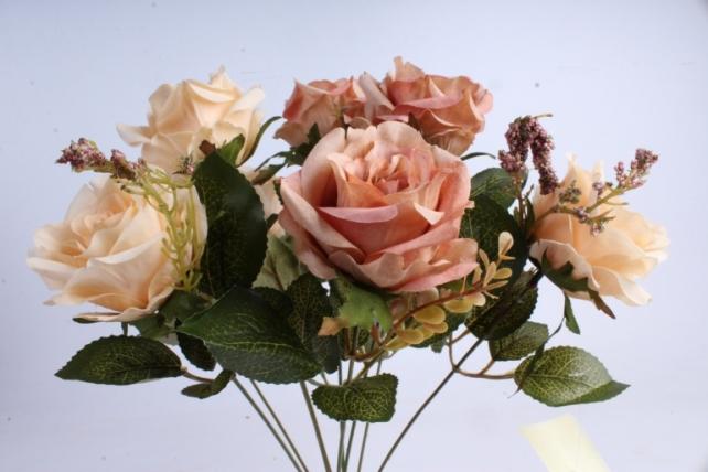 Искусственное растение - Роза Пастель кремовая/светлр-коричневая