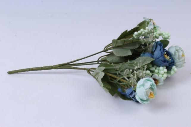 искусственное растение - роза ретро аквамарин h=30cm