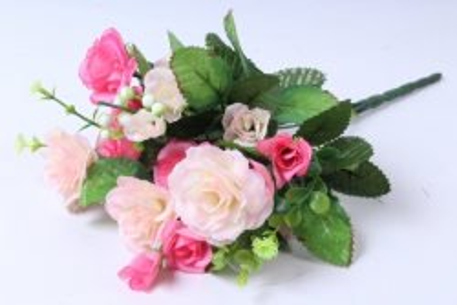 Искусственное растение - Роза с белыми ягодами бело-розовая  h=33cm