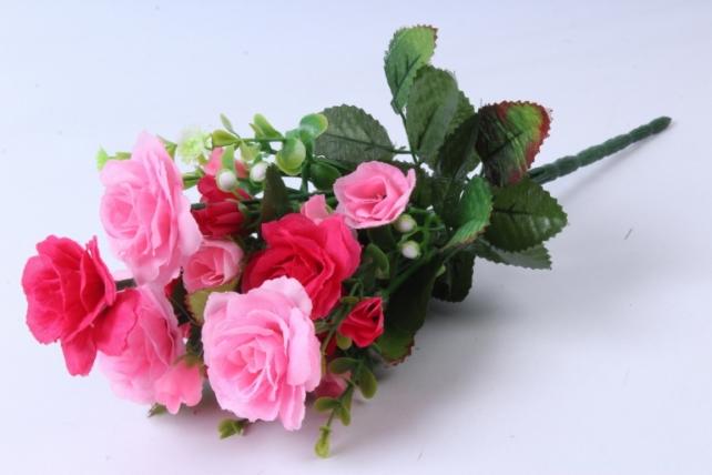 Искусственное растение - Роза с белыми ягодами розово-малиновая  h=33cm