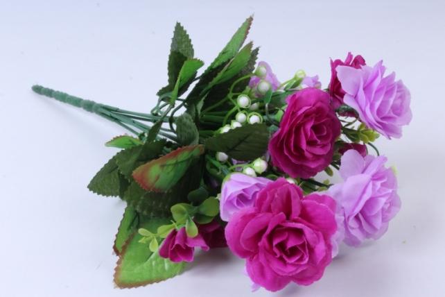 Искусственное растение - Роза с белыми ягодами сиреневая  h=33cm