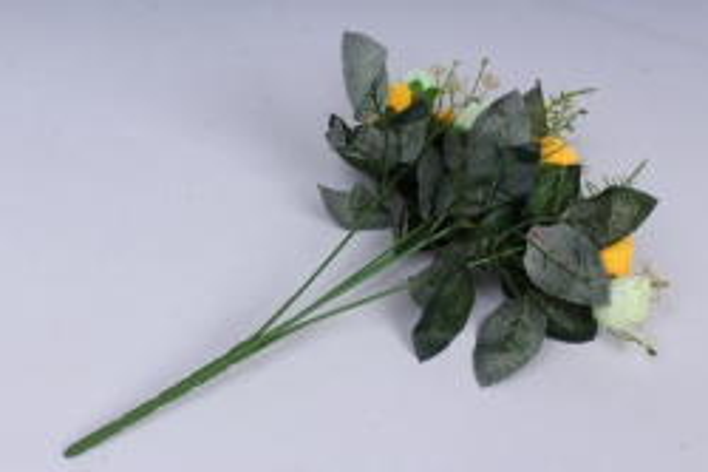искусственное растение - роза с гипсофилой бело-жёлтая h=35cm