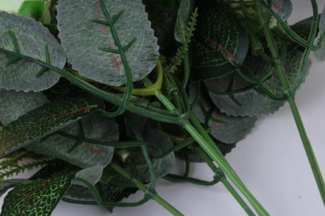 искусственное растение - роза с гипсофилой бело-персиковая h=35cm