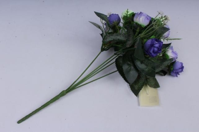 искусственное растение - роза с гипсофилой бело-синяя h=35cm