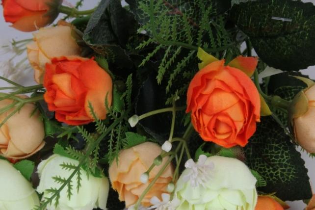 искусственное растение - роза с гипсофилой оранжево-белая h=35cm
