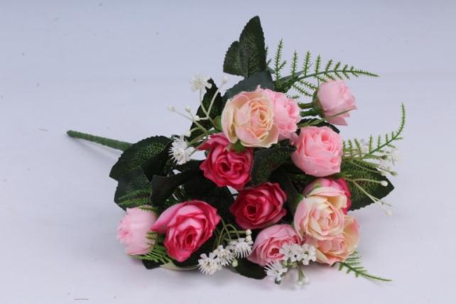 искусственное растение - роза с гипсофилой светло-розовая h=35cm