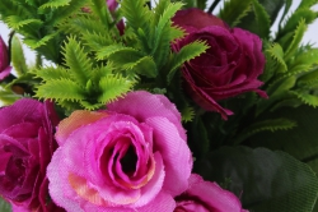 искусственное растение - роза с папоротником фуксия с розовым h=30cm