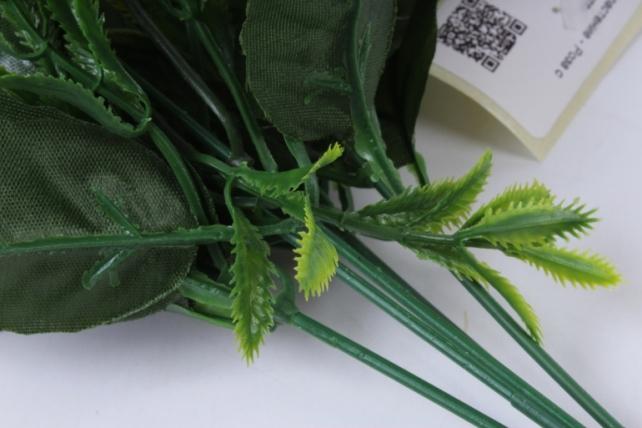 искусственное растение - роза с папоротником жёлтая h=30cm