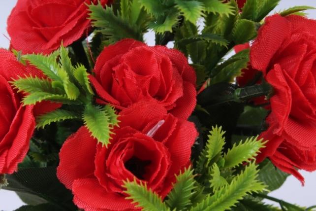 искусственное растение - роза с папоротником красная h=30cm