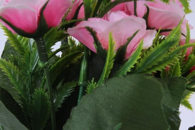 искусственное растение - роза с папоротником розовая h=30cm