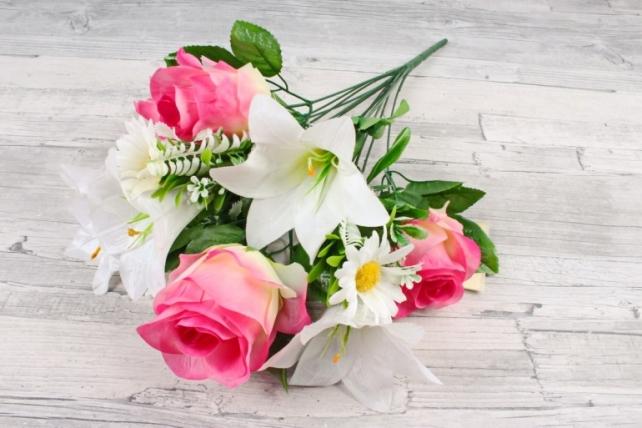 Искусственное растение -  Роза-лилия-ромашка Н=50 см бело-розовые