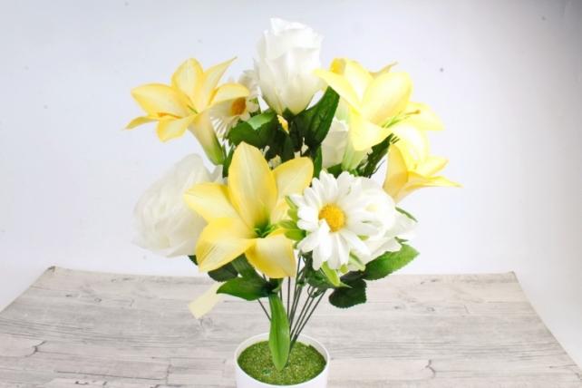 Искусственное растение -  Роза-лилия-ромашка Н=50 см жёлто-белые