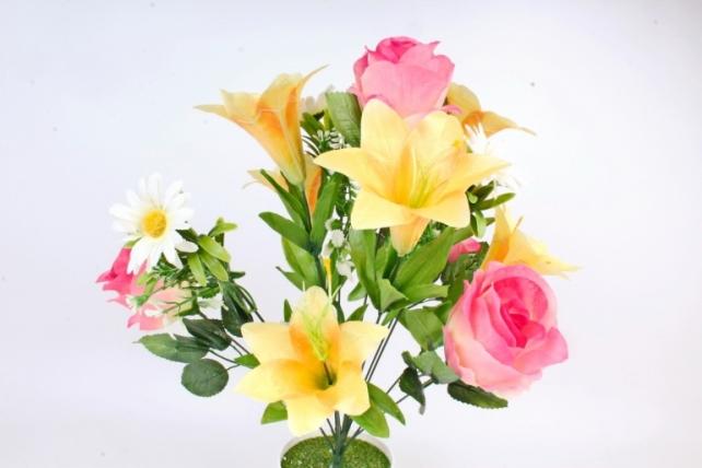 Искусственное растение -  Роза-лилия-ромашка Н=50 см жёлто-розовые