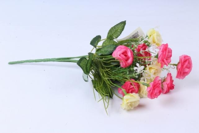 Искусственное растение - Розочка с гипсофилой бело-розовая h=31cm