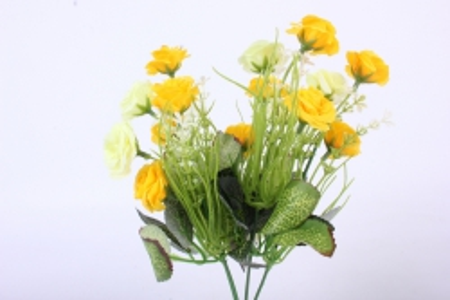 искусственное растение - розочка с гипсофилой желто-лимонная h=31cm