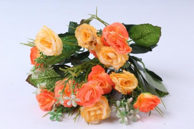 искусственное растение - розочка с гипсофилой желто-оранжевая h=31cm