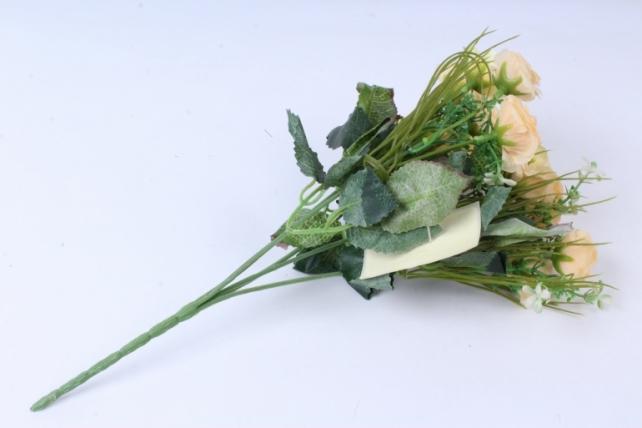 искусственное растение - розочка с гипсофилой персиковая h=31cm