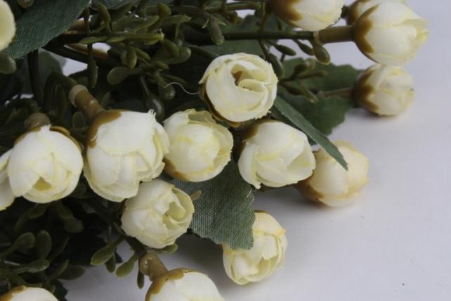 искусственное растение - розочки мини кремовые h=29cm