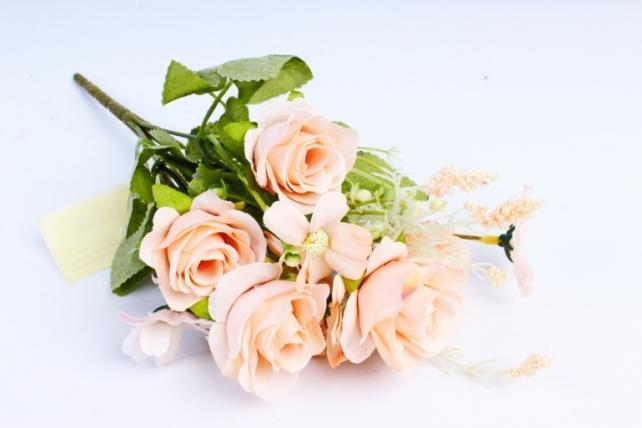Искусственное растение -  Розочки пастель персиковые  (Т)