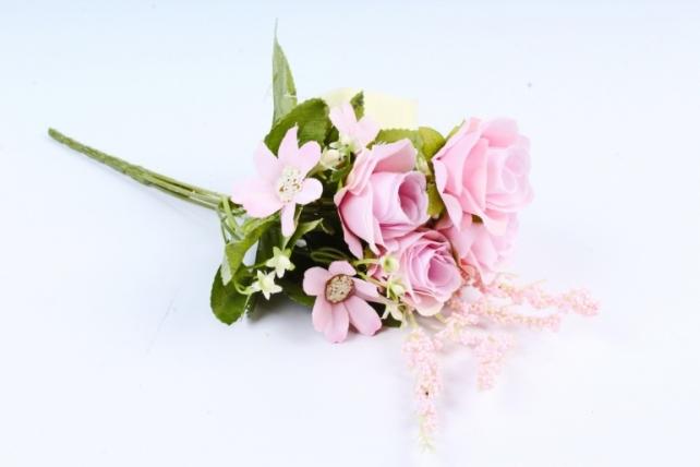 Искусственное растение -  Розочки пастель розовые  (Т)
