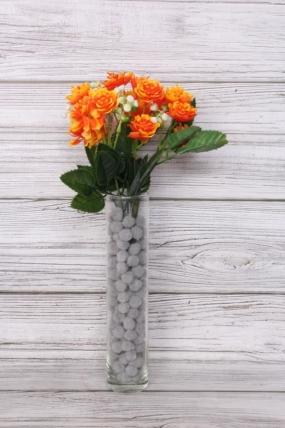 Искусственное растение -  Розочки пластиковые оранжевые
