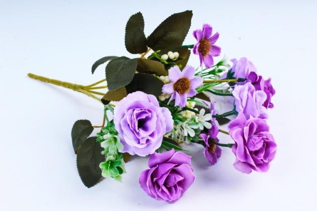 Искусственное растение -  Розочки с гипсофилой и космеей сиреневые  (Т)
