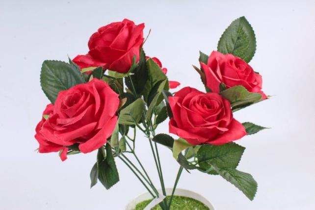 Искусственное растение -  Розы чайные красные