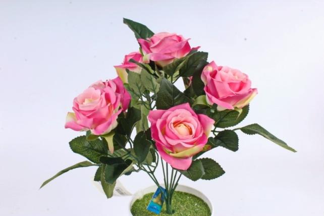 Искусственное растение -  Розы чайные ярко-розовые